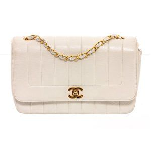 Chanel White Lambskin Leather Chain Shoulder Bag